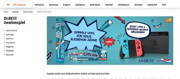 Nintendo Switch Gewinnspiel Müller Dr. Best und Odol-med3