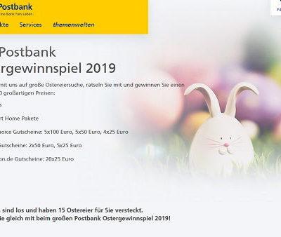 Postbank Ostergewinnspiel 2019 Apple Ipads und weitere Preise