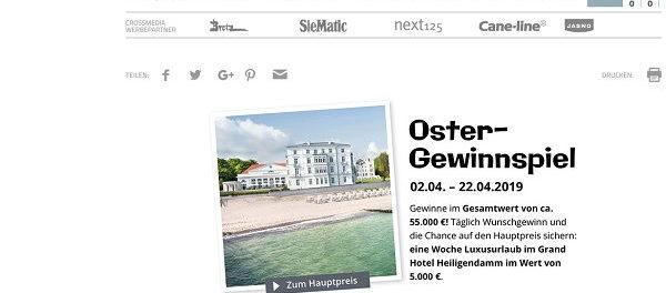 Schöner Wohnen Oster Gewinnspiel Luxusurlaub Und Sachpreise