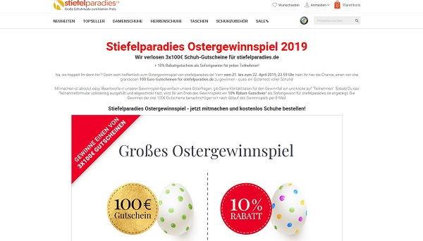 8485a698fe17e4 Stiefelparadies Oster-Gewinnspiel Gutscheine gewinnen