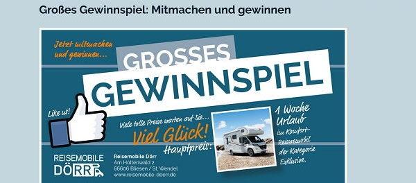 Wohnmobil Gewinnspiel Reisemobile Doerr Urlaub gewinnen