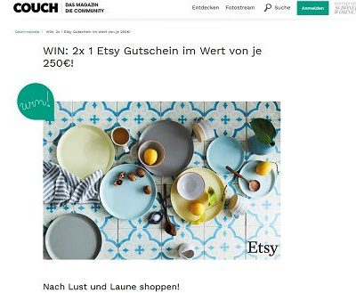 Couchstyle Gewinnspiel 250 Euro Etsy Gutscheine