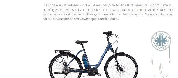 E-Bike Gewinnspiel Kreidler 3 Vitality Nina Bott Bikes