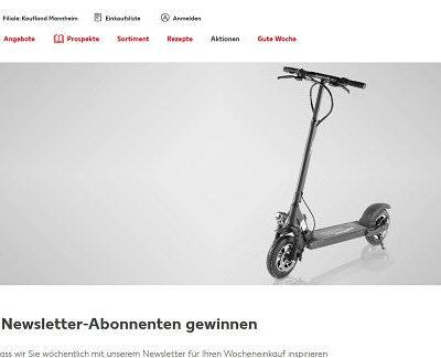 E-Scooter Gewinnspiel Kaufland Newsletter Aktion
