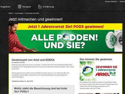 EDEKA und Ariel Gewinnspiel Jahresvorrat 3in1 Pods
