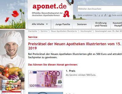 Geld-Gewinnspiel aponet monatlich 500 Euro und Freizeitpark Wochenende