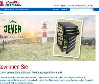 Getränke Hoffmann und Jever Gewinnspiel Werkzeugwagen Kühlschrank