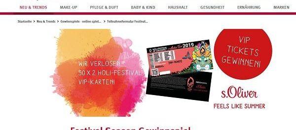 rossmann gewinnspiel 50 mal 2 holi festival vip karten. Black Bedroom Furniture Sets. Home Design Ideas