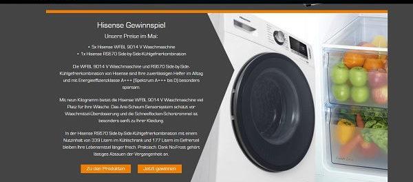 Saturn Gewinnspiele Hisense Waschmaschine und Kühlschrank
