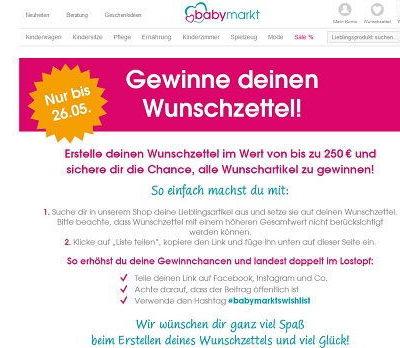 Wunschzettel Gewinnspiel Babymarkt Wunschartikel gewinnen
