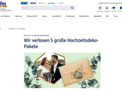 dm Gewinnspiel Hochzeitsdeko Sets gewinnen