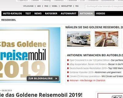 Auto Bild Gewinnspiele Leserwahl Das Goldene Reisemobil 2019