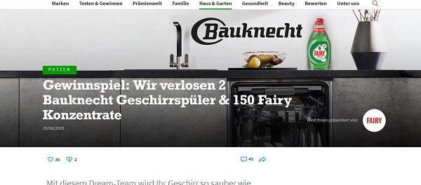 Bauknecht Geschirrspüler Gewinnspiel fairy und for me online