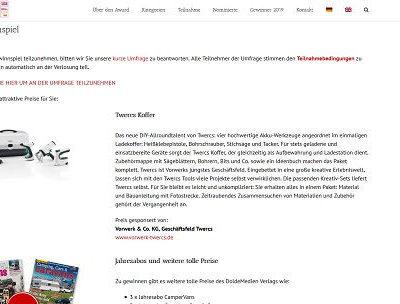 Campsite Award Gewinnspiel Twercs Werkzeugkoffer und Camper Zeitschriften