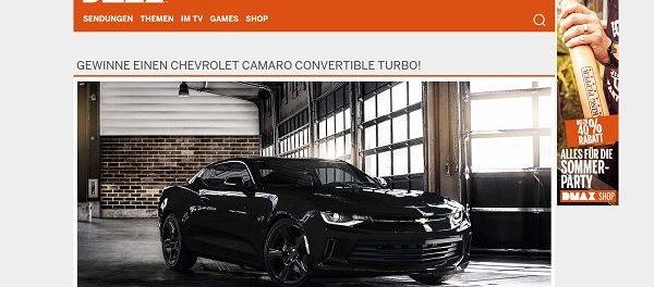 DMAX Autogewinnspiel Chevrolet Camaro Convertible Turbo