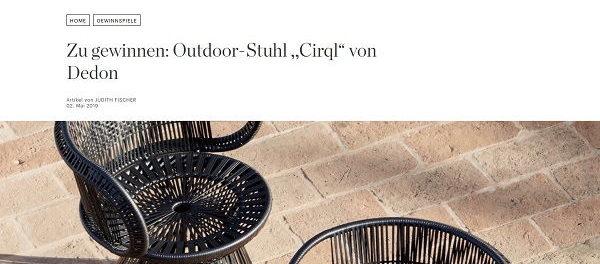 Elle Gewinnspiel Designer Outdoor-Stuhl Cirql von Dedon