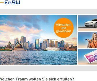 EnBW Gewinnspiel 5.000 Euro Reisegutschein oder Tesla fahren gewinnen
