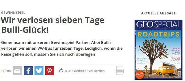 GEO Magazin Gewinnspiel VW-Bus Camping Reise
