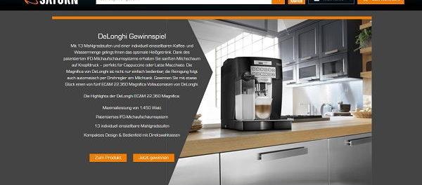 Gewinnspiel des Monats bei Saturn DeLonghi Kaffeevollautomat