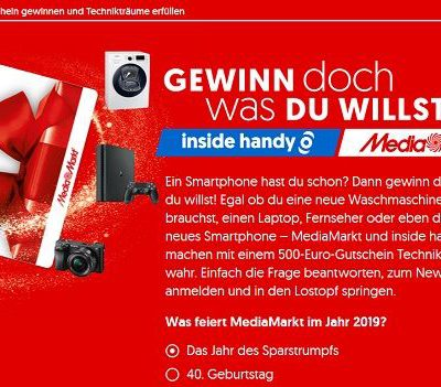 Inside Handy Gewinnspiel 500 Euro MediaMarkt Gutschein