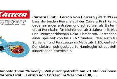 Kino News Gewinnspiel Wheely Carrera First Rennbahn und DVD