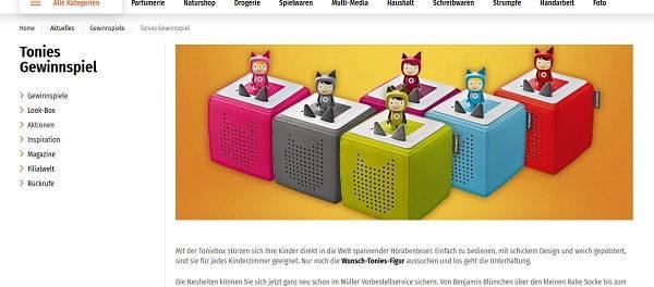 Müller Gewinnspiele Tonieboxen in Lieblingsfarbe