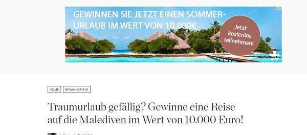 Malediven Reise Gewinnspiel bei Elle.de