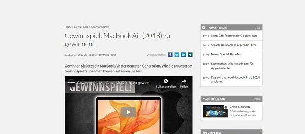 Notebook Gewinnspiel MacWelt Apple MacBook Air Verlosung