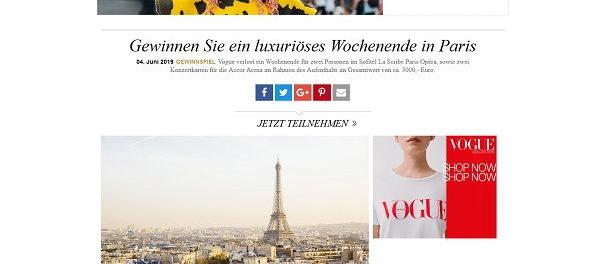 Paris Reise Gewinnspiel Vogue Magazin