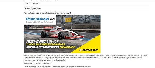 Reifendirekt Gewinnspiel Formeltraining Rennwagen fahren