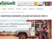 Reisewelt Gewinnspiel 5 Roadtrips Billiger-Mietwagen Gutscheine