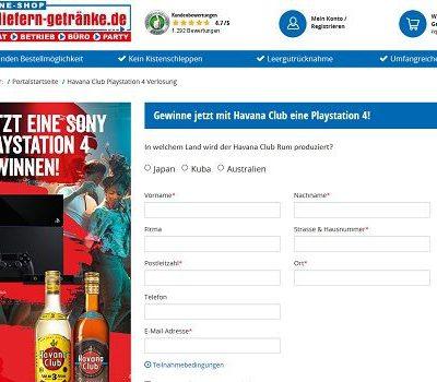 Sony Playstation 4 Gewinnspiel Wir liefern Getränke und Havanna Club