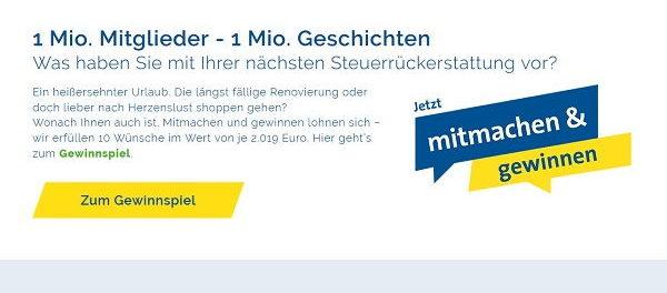 Vereinigte Lohnsteuerhilfe e.V. Gewinnspiel 10 Wünsche je 2019 Euro