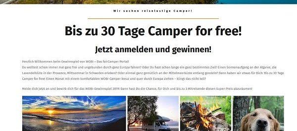 Wohnmobil Gewinnspiel WOBI 30 Tage Camper for free