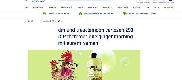 dm Gewinnspiel 250 personalisierte Duschgels von ginger