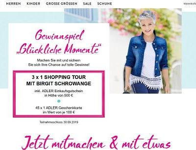 Adler Mode Gewinnspiel 3 Shopping Touren mit Birgit Schrowange
