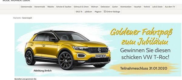 Auto-Gewinnspiel Bader Versand VW T-Roc gewinnen