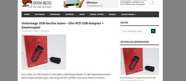 EKIWI-Blog Gewinnspiel Divi KFZ-USB-Adapter