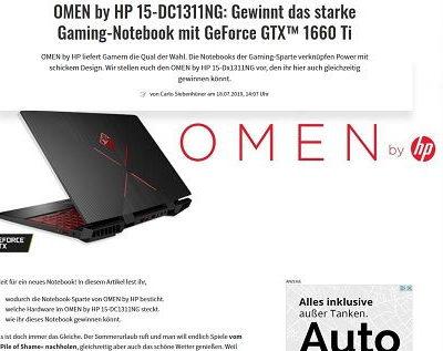 Gamez Gewinnspiel HP Omen Gamer Notebook Verlosung
