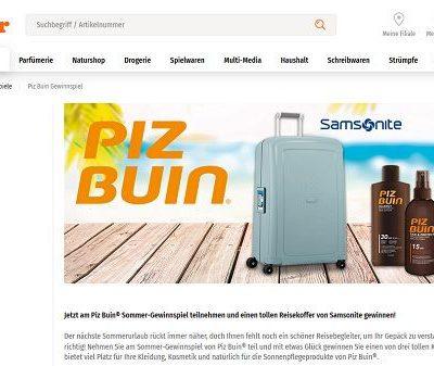 Gewinnspiele Müller und Piz Buin Samsonite Koffer