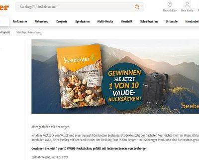 Müller Drogerien Gewinnspiele Seeberger verlost Vaude Rucksäcke