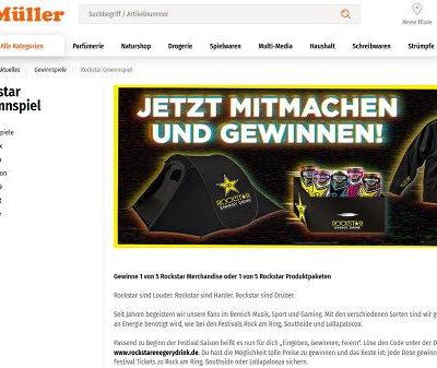 Müller und Rockstar Energy Gewinnspiel Zelte und Hoodies
