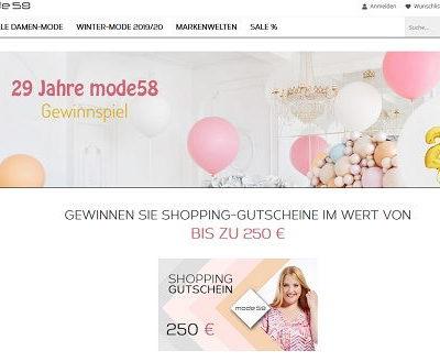 Mode58 Gewinnspiel Shopping-Gutscheine gewinnen
