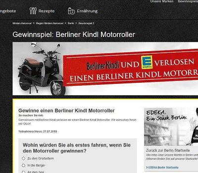 Motorroller Gewinnspiel Edeka und Berliner Kindl