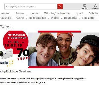 Otto Geburtstags-Gewinnspiel Sony Action Kameras und Eventime Gutscheine