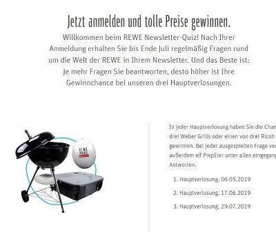 REWE Newsletter Quiz Gewinnspiel Beamer oder Weber Grill gewinnen