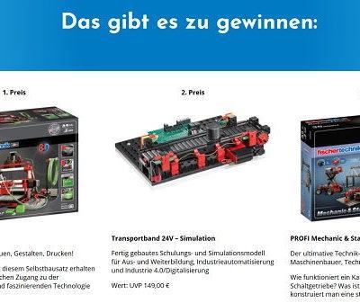 3D Drucker Bausatz Gewinnspiel Flender verlost Fischer Technik Baukästen