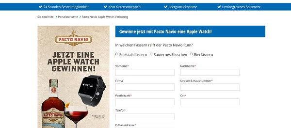 Apple Watch Gewinnspiel Wir liefern Getränke und Pacto Navio