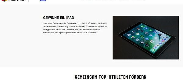 Apple iPad Gewinnspiel Deutsche Sporthilfe Stipendiat Wahl 2019