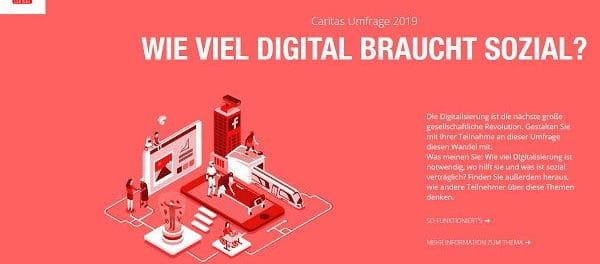 Caritas Gewinnspiel Umfrage 2019 digital braucht sozial